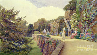 Women Together Painting - The Terrace At Berkeley Castle by George Samuel Elgood