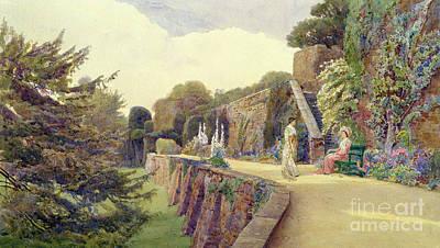 The Terrace At Berkeley Castle Print by George Samuel Elgood