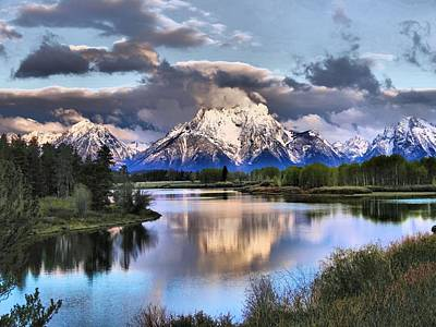 Reflections In River Photograph - The Tetons From Oxbow Bend by Dan Sproul