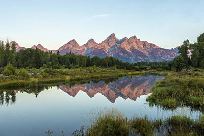 Water Photograph - The Tetons Reflected On Schwabachers Landing - Grand Teton National Park Wyoming by Brian Harig