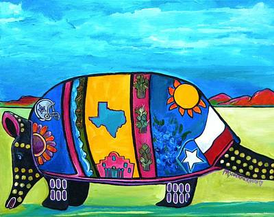 Texas Painting - The Texas Armadillo by Patti Schermerhorn