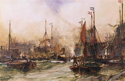 Waving Flag Painting - The Thames At Tower Bridge by Charles Edward Dixon