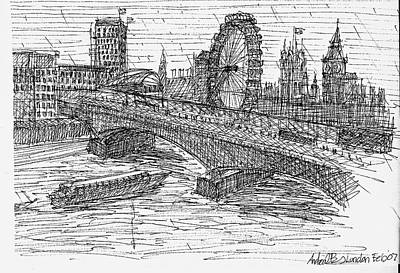 London Eye Drawing - The Thames London by Andrew Burns