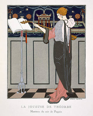 Evening Dress Painting - The Theorbo Player by Georges Barbier