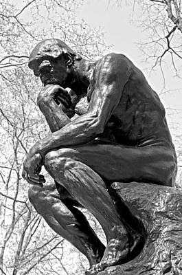 Philadelphia Photograph - The Thinker In Black And White by Lisa Phillips