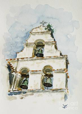 The Three-bell Campanario At Mission San Juan Bautista  Print by Zaira Dzhaubaeva