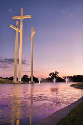Arkansas Photograph - The Three Crosses - Cross Church - Rogers Arkansas by Gregory Ballos