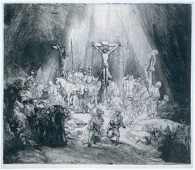 The Three Crosses Print by Rembrandt