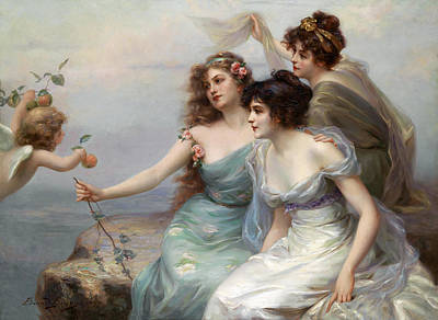 Blue Dresses Digital Art - The Three Graces by Edouard Bisson