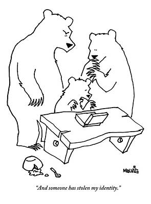 Goldilocks Drawing - The Three Little Bears Are Seen Looking by Ariel Molvig