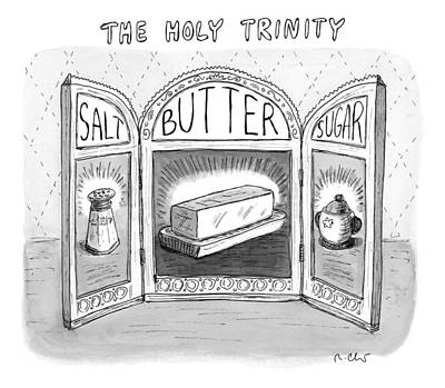 Sugar Drawing - The Three Panels Of A Large by Roz Chast