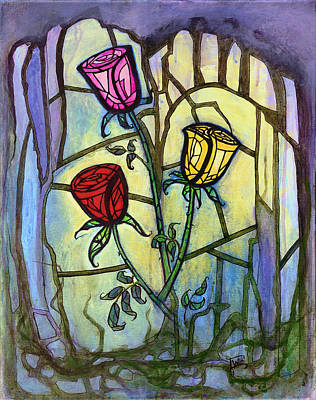 Unity Painting - The Three Roses by Terry Webb Harshman