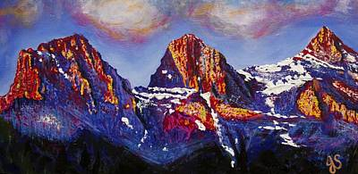 The Three Sisters Canmore Alberta Mountains Print by Joyce Sherwin