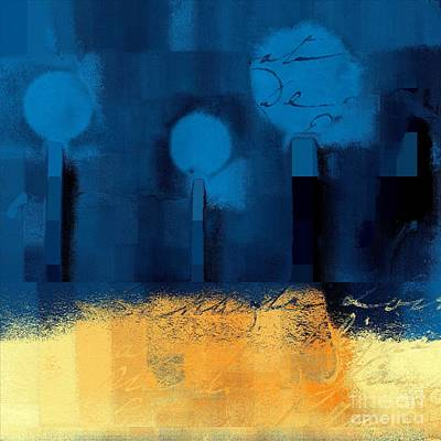 Variation Digital Art - The Three Trees - J036076170-blue by Variance Collections