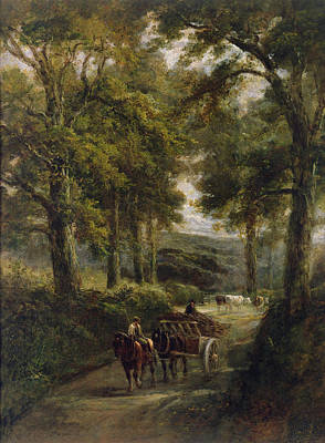 Horse And Cart Photograph - The Timber Wagon Oil On Canvas by Henry Earp