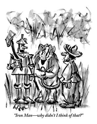 Wizard Drawing - The Tin Man Talks To The Cowardly Lion by Lee Lorenz