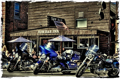 Flag Photograph - The Tow Bar Inn - Old Forge New York by David Patterson