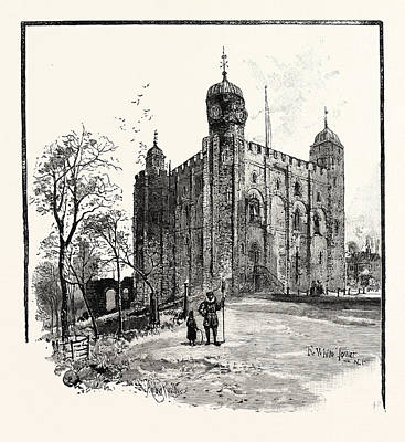 Tower Of London Drawing - The Tower Of London The White Tower by English School