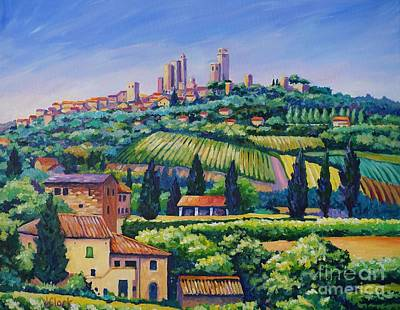 Italian Wine Painting - The Towers Of San Gimignano by John Clark