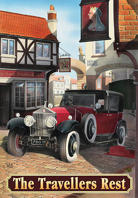 British Classic Cars Painting - The Travellers Rest by Peter Green