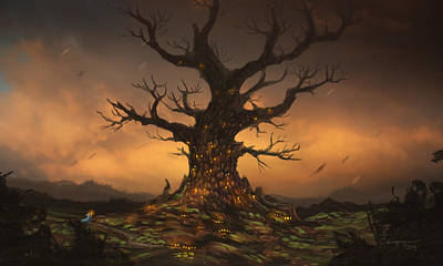 Dramatic Digital Art - The Tree by Cassiopeia Art