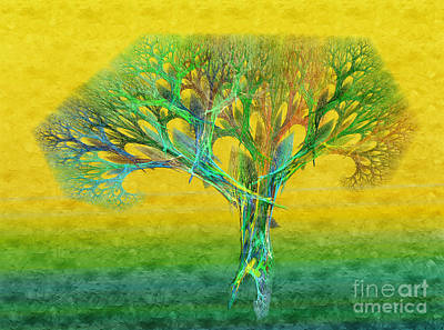 The Tree In Summer At Sunrise - Painterly - Abstract - Fractal Art Print by Andee Design