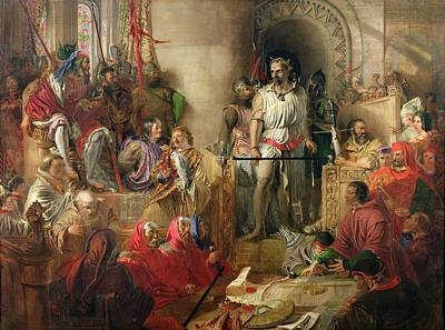 The Trial Of Sir William Wallace At Westminster Oil On Canvas Print by William Bell Scott