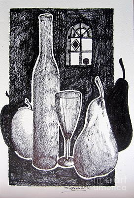 Glass Bottle Drawing - The Triumph Of The Shades by Roberto Gagliardi