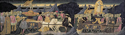 The Triumphs Of Love And Chastity, Part Of The Front Panel Of A Cassone Tempera And Gold On Panel Print by Apollonio di Giovanni