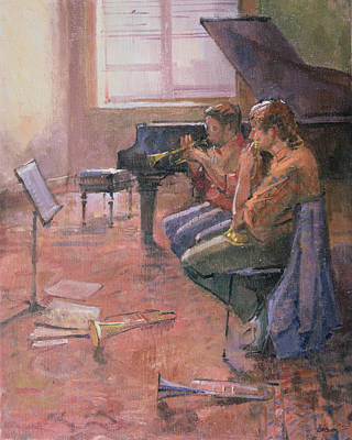 The Trumpet Lesson, 1998 Oil On Canvas Print by Bob Brown