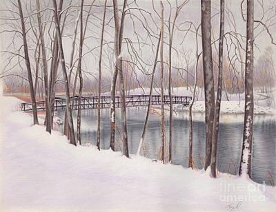 The Tulip Tree Bridge In Winter Print by Elizabeth Dobbs