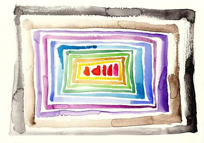 Abstracto Painting - The Tunnel - Abstract Slash Watercolor by Tiberiu Soos
