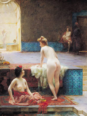 1896 Photograph - The Turkish Bath, 1896 Oil On Canvas by Serkis Diranian
