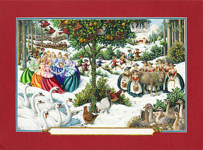 Partridge Painting - The Twelve Days Of Christmas by Lynn Bywaters
