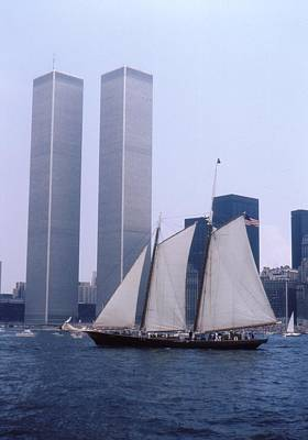 The Twin Towers With The Schooner America 4th July 1976 Print by Terence Fellows