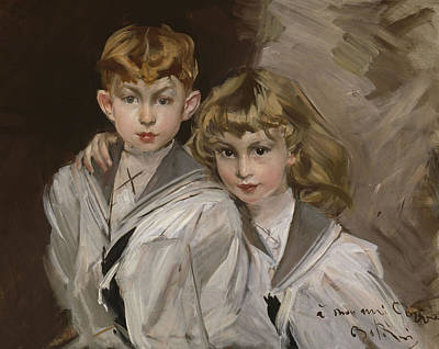 Sisters Painting - The Two Children by Giovanni Boldini