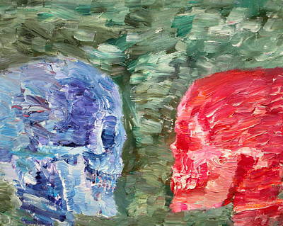 Human Head Painting - The Two Opposed Each Other Face To Face by Fabrizio Cassetta
