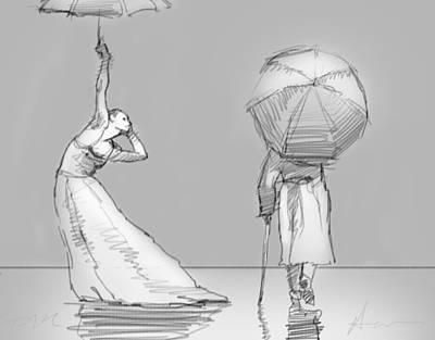 The Umbrellas Print by H James Hoff