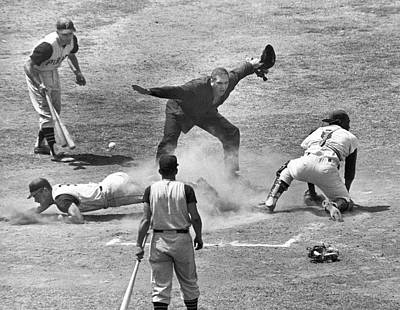 Mazeroski Photograph - The Umpire Calls It �safe�! by Underwood Archives