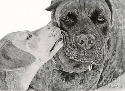 Graphite Drawing - The Unconditional Love Of Dogs by Sarah Batalka
