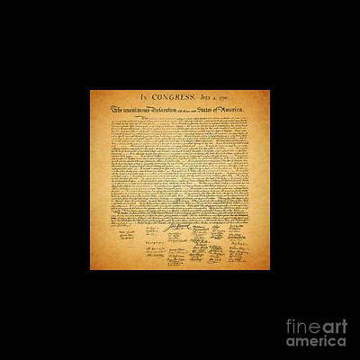 The United States Declaration Of Independence - Square Black Border Print by Wingsdomain Art and Photography