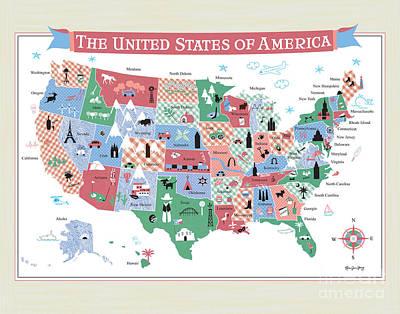 Framed Art Digital Art - The United States by Karen Young
