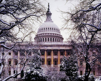 Grey Clouds Photograph - The U.s. Capitol In Winter by Mountain Dreams