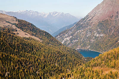 The Valley Martelltal With Lake Print by Martin Zwick