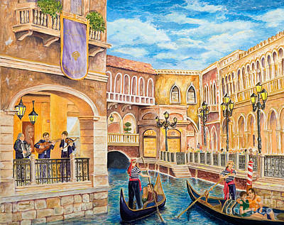 Campanile Painting - The Venetian Canal  by Vicki  Housel
