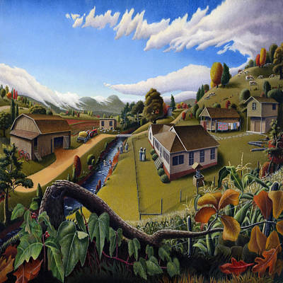 Kentucky Painting - The Veon's Farm Life Country Landscape - Square Format by Walt Curlee