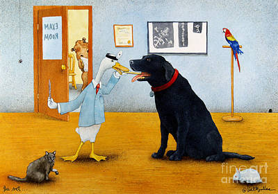 Humorous Cat Painting - The Vet... by Will Bullas