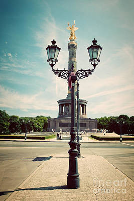 Lamp Photograph - The Victory Column In Berlin Germany by Michal Bednarek