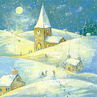 Snowy Night Painting - The Village Carol Service by David Cooke