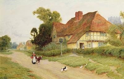 Old Street Painting - The Village Inn by Arthur Claude Strachan